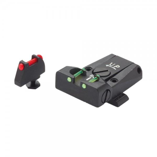 LPA Sights Mikrometer-Visier TTF für Glock-Pistolen, Fiber Optic mit Korn