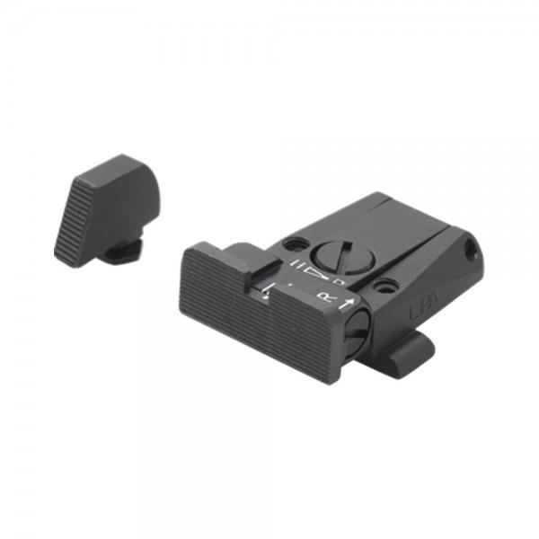 LPA Sights Mikrometer-Visier SPR für Glock-Pistolen, Visierblatt Schwarz, mit Korn